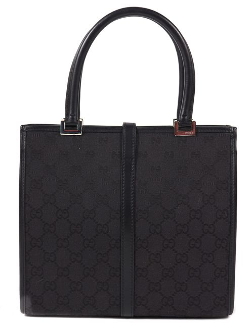GUCCI Black GG Monogram Canvas Leather Trim Small Jackie Tote