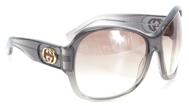 GUCCI Gray Clear Acetate Gradient Lens Oversized Square Sunglasses