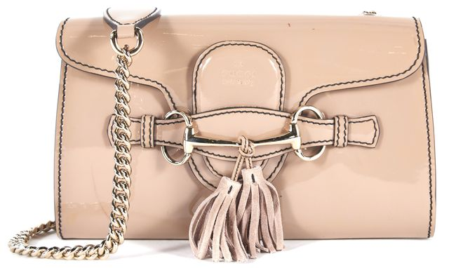 GUCCI Beige Patent Leather Gold Chain Tassel Emily Shoulder Bag