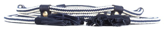GUCCI Navy Blue Ivory Rope Suede Leather Tassel Trim Tie Belt