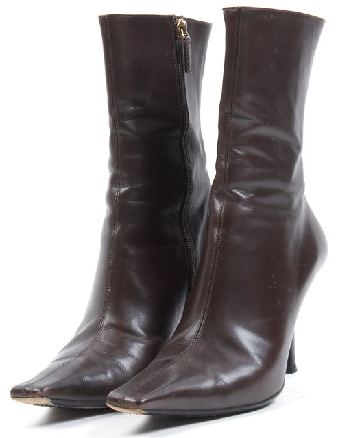GUCCI Chocolate Brown Leather Pointed Toe Mid-Calf Boots
