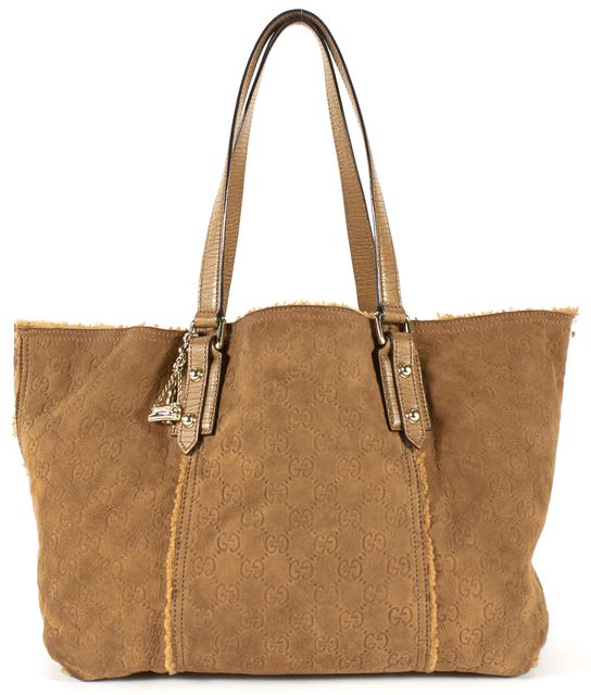 GUCCI Brown Suede Shearling Lined Guccissima Jolicoeur Tote