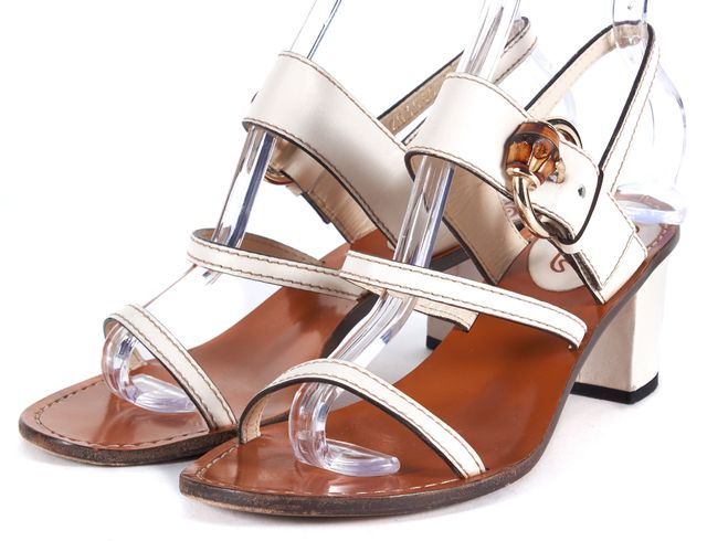 GUCCI White Leather Strap Bamboo Detail Heel Sandal