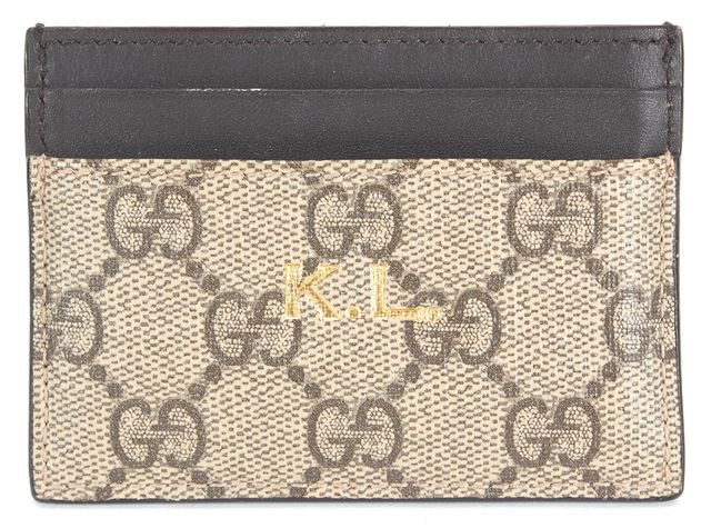 GUCCI Brown Coated Canvas Monogram Business Card Case