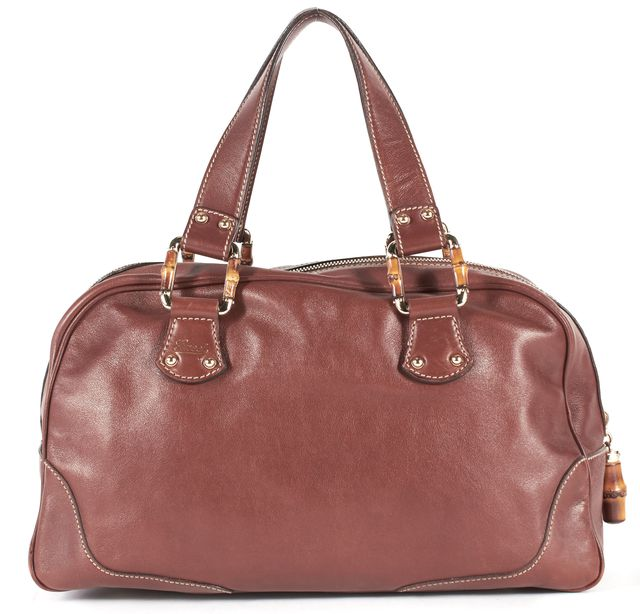 GUCCI Brown Leather Bamboo Detail Shoulder Bag