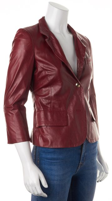 GUCCI Burgundy Red Leather Chain Embellished Basic Jacket