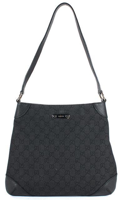 GUCCI Black GG Monogram Canvas Pebbled Leather Trim Hobo Bag