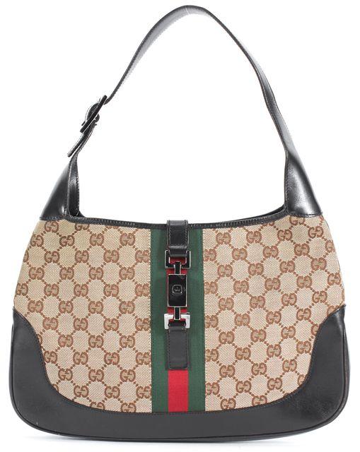 GUCCI Brown GG Canvas Leather Trim Jackie O Hobo Bag