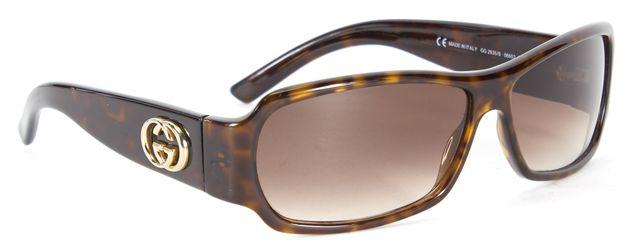 GUCCI Brown Tortoiseshell Acetate Rectangle Square Sunglasses w/ Case