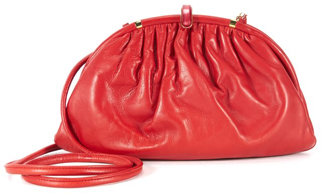 GUCCI Vintage True Red Leather Pleated Framed Convertible Clutch Crossbody Bag
