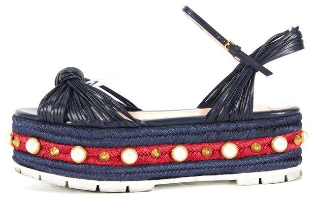 GUCCI Navy Red Leather Pearl Studded Espadrilles Barbette Platform Shoes