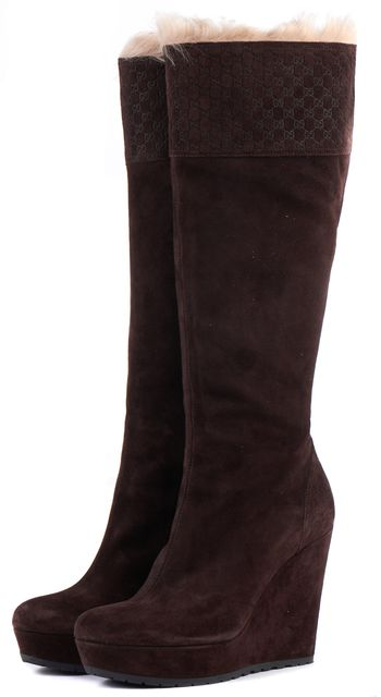 GUCCI Chocolate Microguccissima Suede Courteney Wedged Knee-High Boots