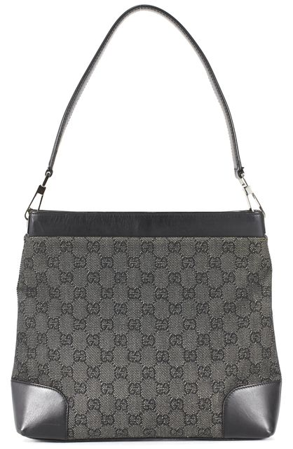 GUCCI Gray Black GG Canvas Leather Detail Shoulder Bag