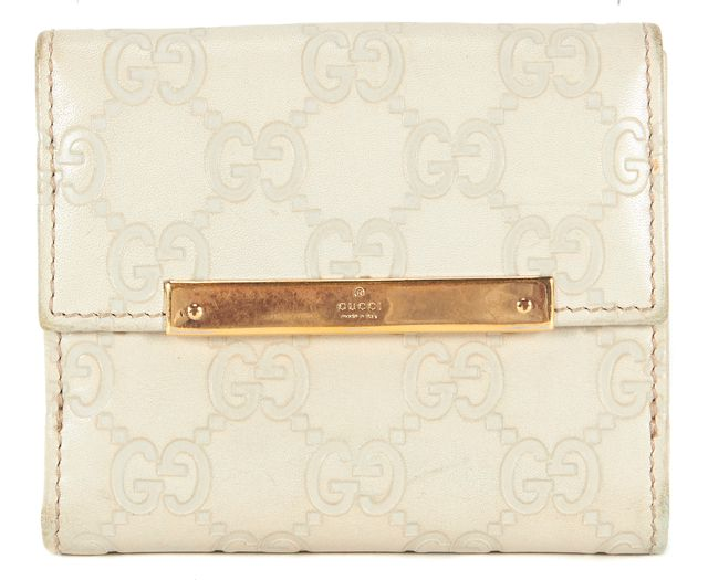 GUCCI Ivory Guccissima Embossed Leather Bi-Fold Wallet