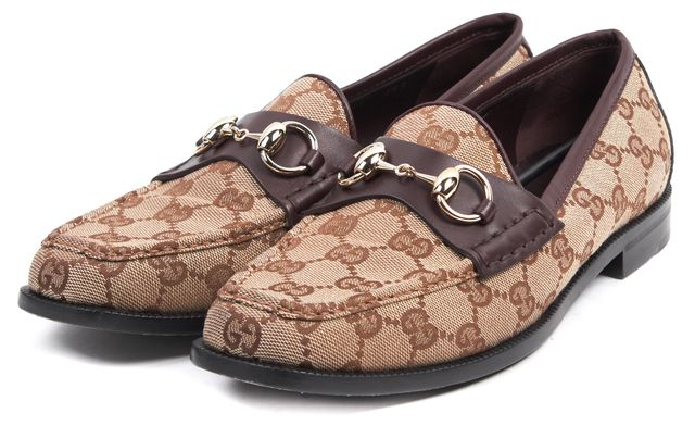 GUCCI Brown Burgundy Leather GG Canvas Horsebit Loafers Size 38.5 US 8.5