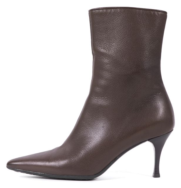 GUCCI Brown Pebbled Leather Pointed Toe Heeled Booties