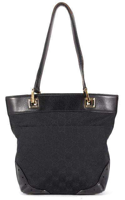GUCCI Black GG Monogram Canvas Leather Trim Shoulder Bag Tote