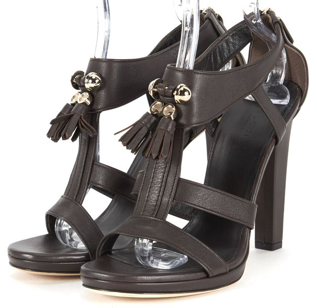 GUCCI Dark Chocolate Leather Gold-Tone GG Tassel Sandal Heels Size EU 40 US 10
