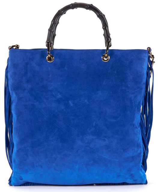 GUCCI Cobalt Blue Suede Bamboo Fringe Shopper Convertible Tote