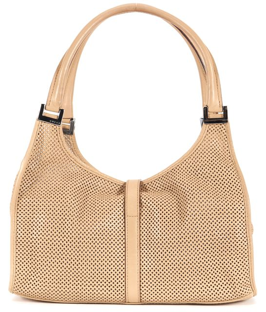 GUCCI Light Camel Brown Perforated Leather Jackie Top Handle Bag