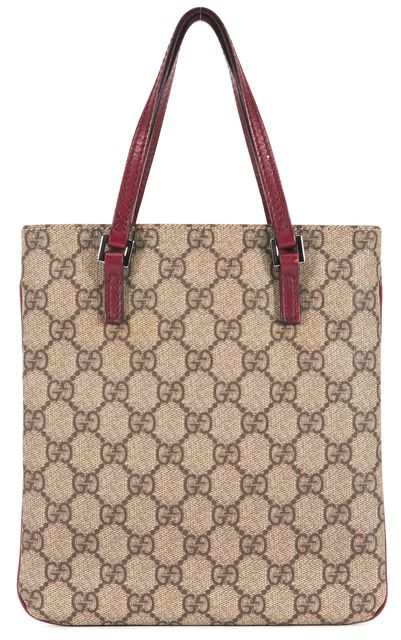 GUCCI Brown Monogram Coated Canvas Leather Trim Small Tote