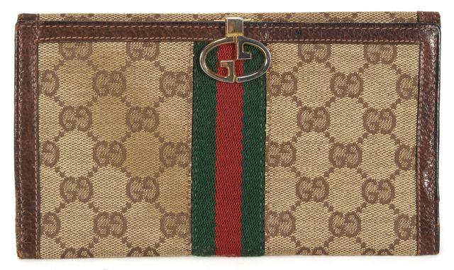 GUCCI Vintage Brown GG Monogram Canvas Bi-Fold Slim Wallet