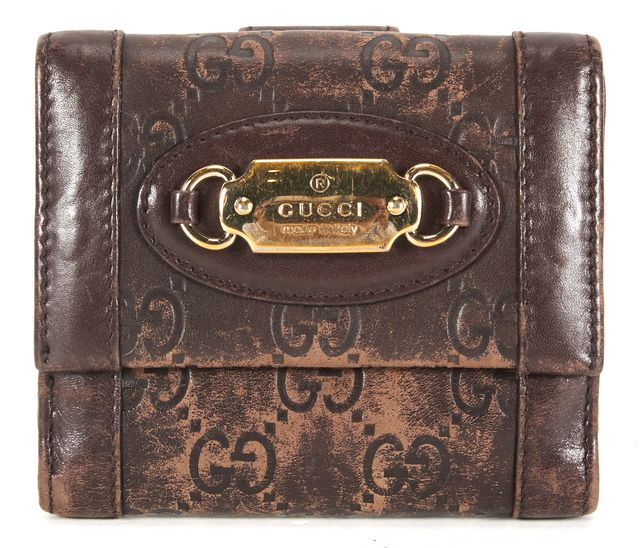 GUCCI Brown Gold Guccissima Stamped Leather Bifold Wallet