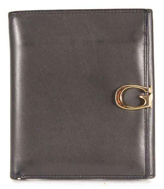 GUCCI Black Leather Gold-Tone G Clasp Bi-Fold Mini Wallet