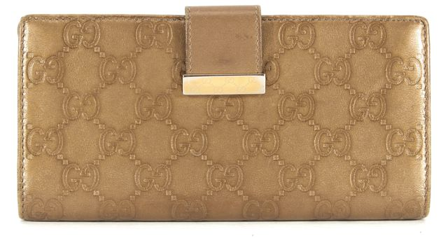 GUCCI Bronze Brown Metallic Guccissima Stamped Leather Bifold Continental Wallet