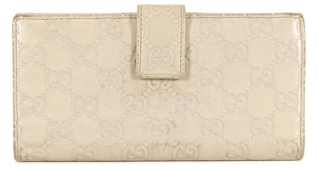 GUCCI Ivory Guccissima Embossed Leather Bi-Fold Continental Wallet