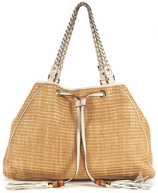 GUCCI Beige Woven Bamboo Braided Leather Trim Tassel Shoulder Tote Bag
