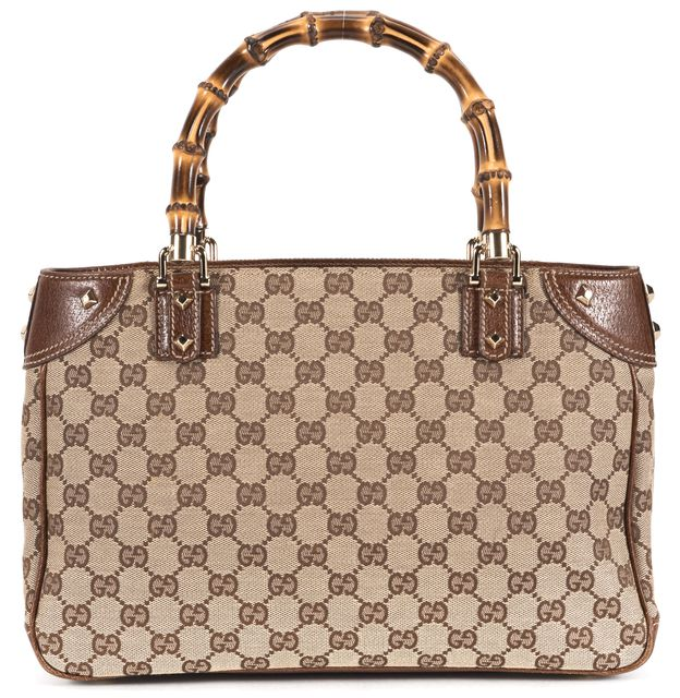 GUCCI Brown GG Canvas Bamboo Handle Gold Studded Tote Shoulder Bag