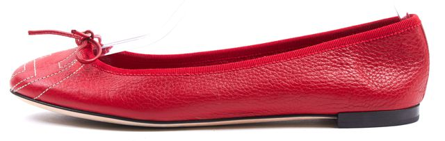 GUCCI Crimson Red Pebbled Leather Interlocking GG Logo Ballet Flats