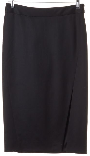 GUCCI Black Wool Mohair Front Slit Pencil Skirt