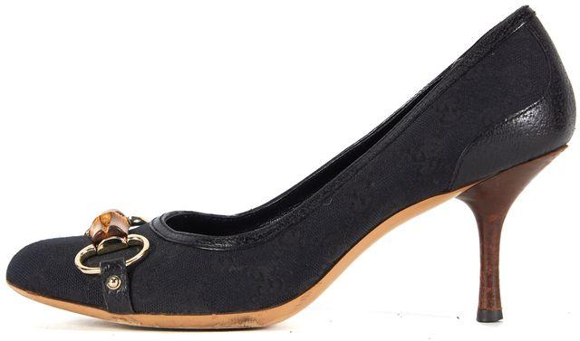 GUCCI Black GG Canvas Bamboo Horsebit Round Toe Pumps Heels
