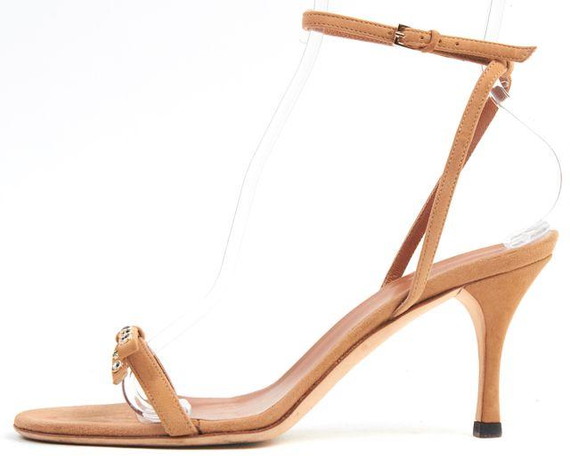 GUCCI Beige Suede Crystal Bow Embellished Sandal Heels