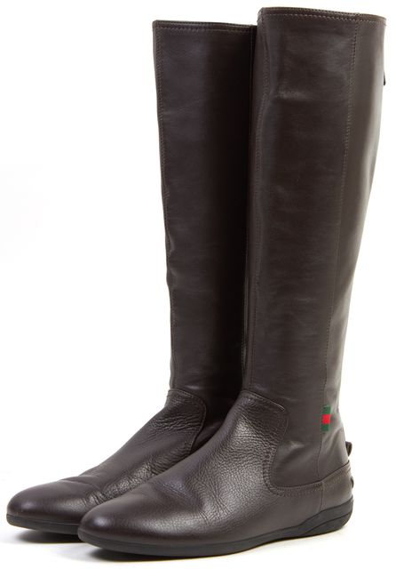 GUCCI Brown Leather Back Zip Knee-High Boots