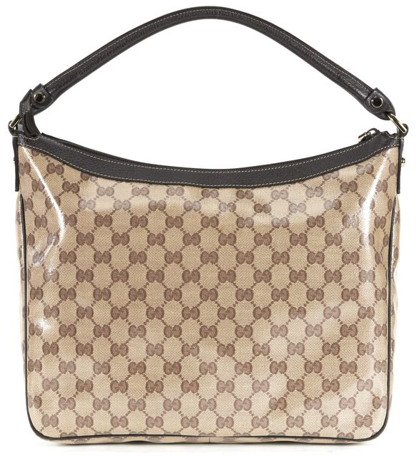 GUCCI Brown Crystal GG Coated Canvas Abbey Hobo Bag