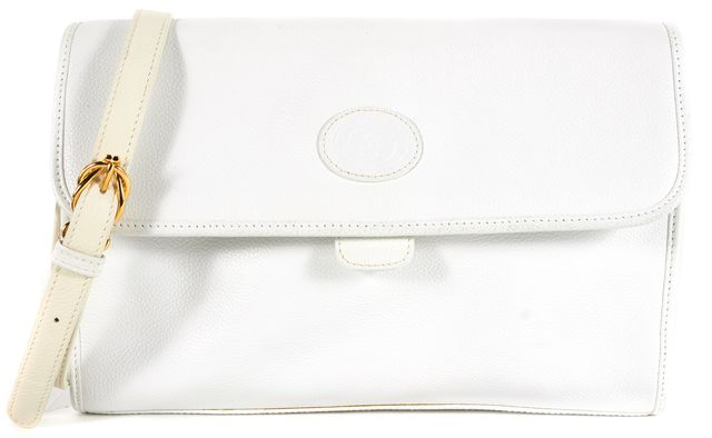 GUCCI Vintage White Leather Gold Hardware Crossbody
