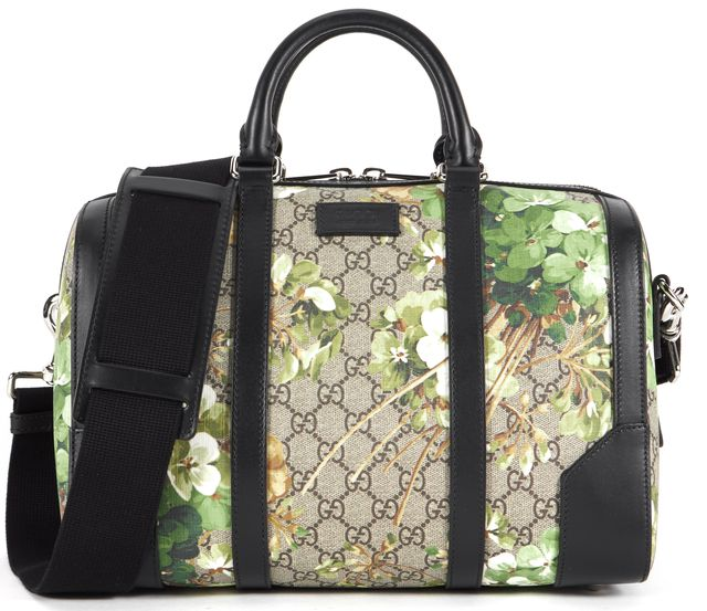 GUCCI Beige Green GG Bloom Coated Canvas Leather Trim Small Duffel Bag