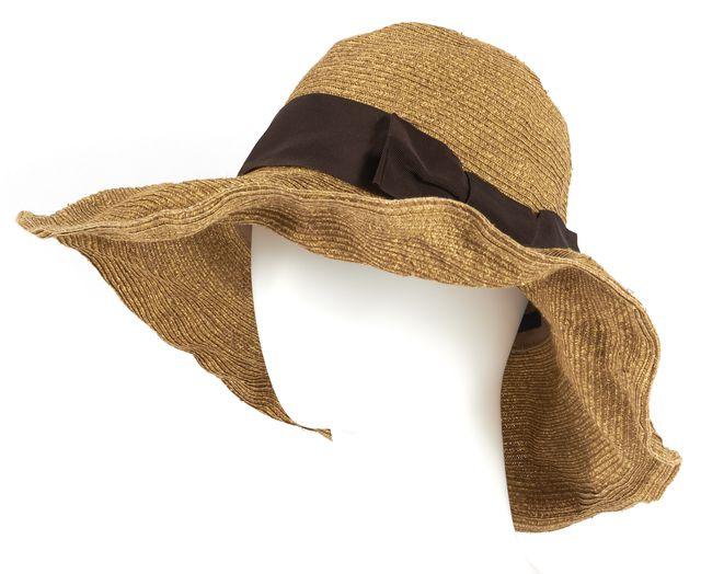 GUCCI Brown Havana Wide Brim Paper Yarn Straw Hat