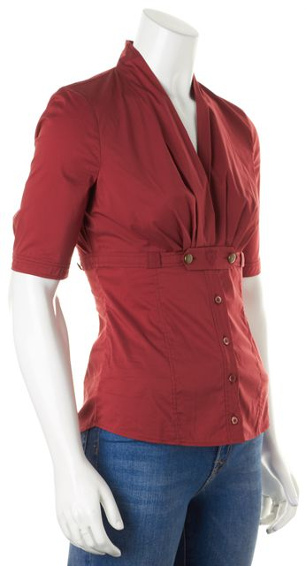 GUCCI Red Short Sleeve V-Neck Button Front Blouse Top