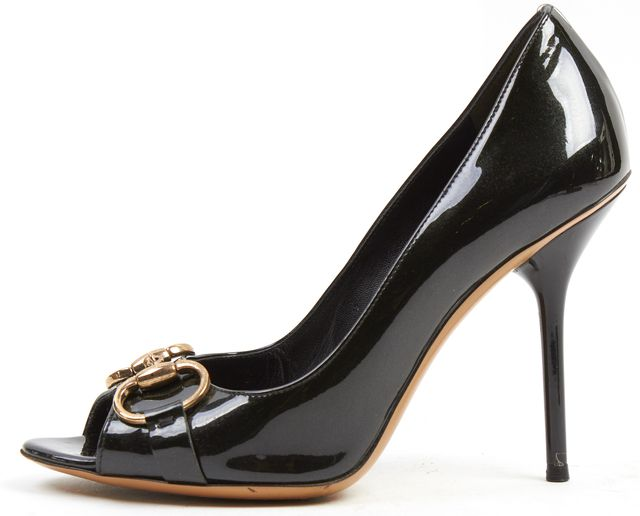GUCCI Black Iridescent Patent Leather Open Toe Pump Heels
