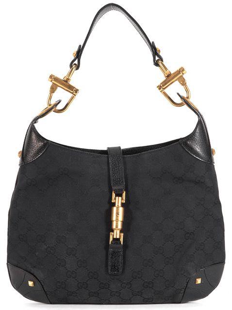 GUCCI Black GG Monogram Canvas Leather Trim Jackie O Shoulder Bag