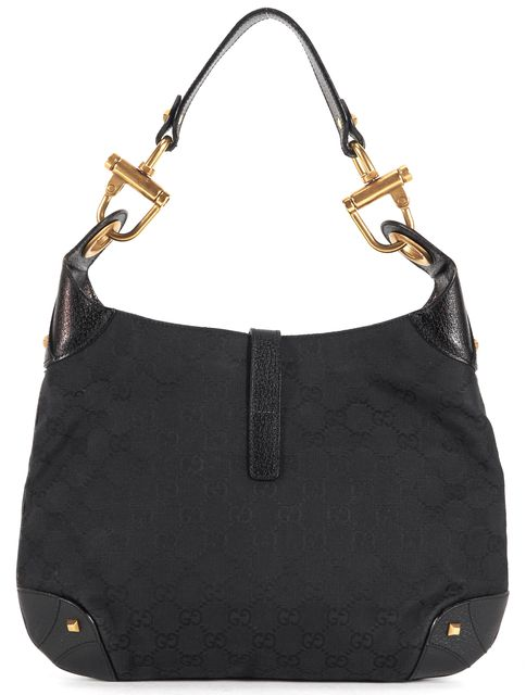 c7a2d92f4bb2 GUCCI Black GG Monogram Canvas Leather Trim Jackie O Shoulder Bag ...