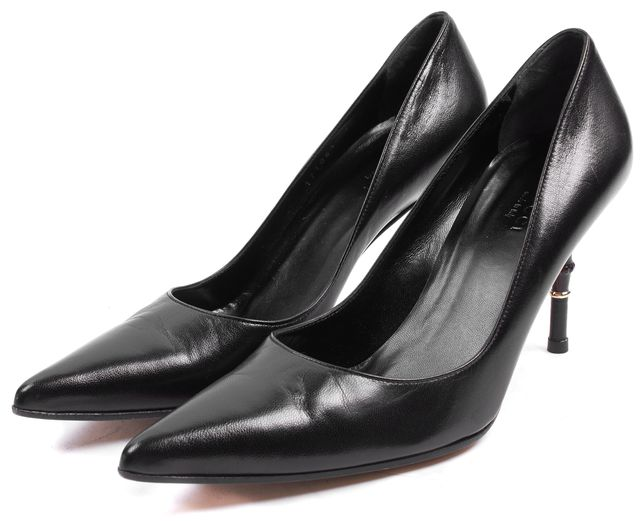 GUCCI Black Leather Bamboo Pointed Toe Pump Heels