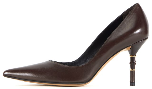 GUCCI Chocolate Brown Leather Bamboo Pointed Toe Pump Heels