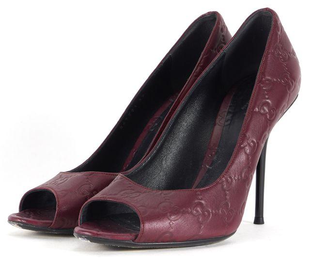 GUCCI Plum Purple Logo Embossed Leather Peep Toe Heels