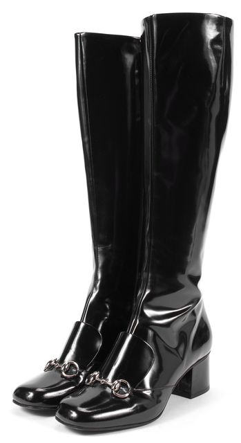 GUCCI Black Patent Leather Heeled Loafer Style Knee-High Boots