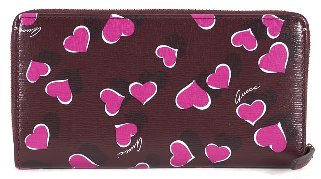 GUCCI Burgundy Red Heart Printed Leather Zip Around Wallet